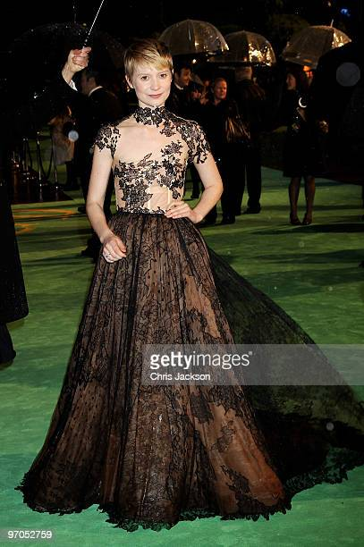 Actress Mia Wasikowska attends the Royal World Premiere of 'Alice in Wonderland' at the Odeon Leicester Square on February 25 2010 in London England