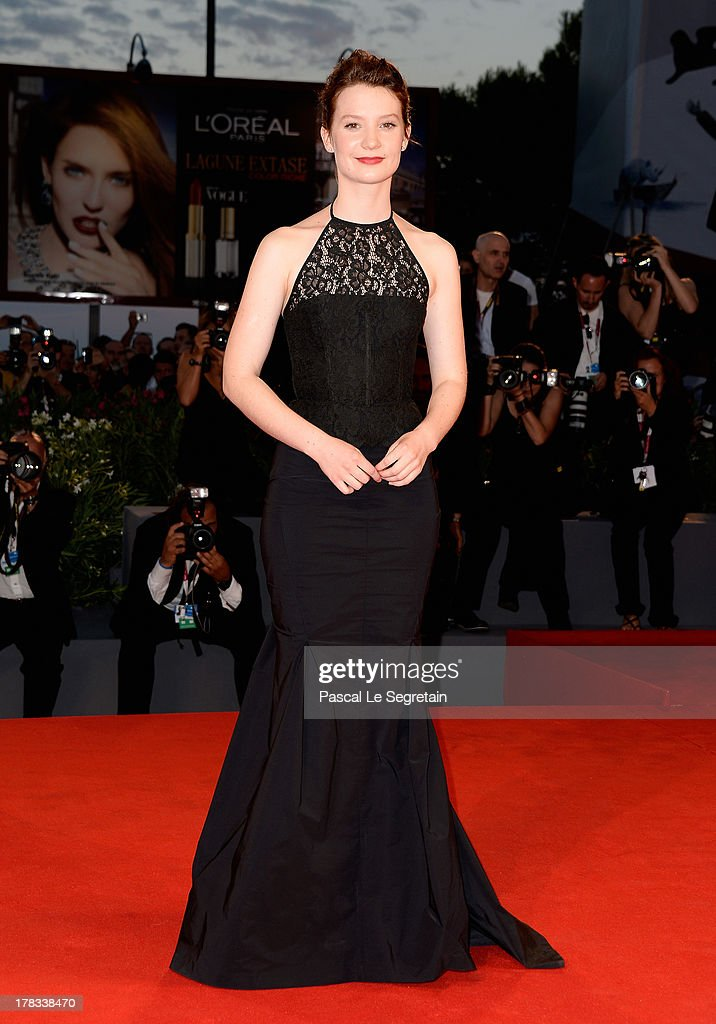 Actress <a gi-track='captionPersonalityLinkClicked' href=/galleries/search?phrase=Mia+Wasikowska&family=editorial&specificpeople=3965263 ng-click='$event.stopPropagation()'>Mia Wasikowska</a> attends the 'Tracks' premiere during the 70th Venice International Film Festival at the Palazzo del Cinema on August 29, 2013 in Venice, Italy.