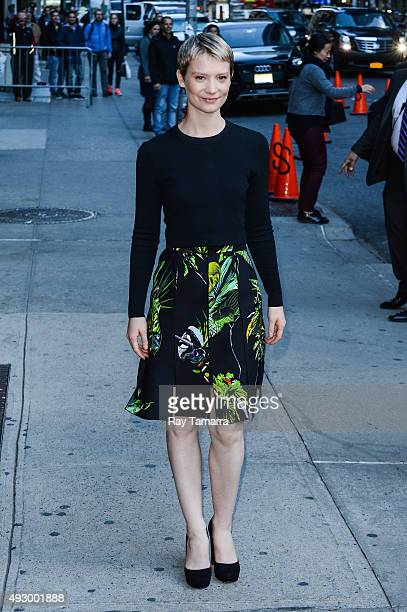 Actress Mia Wasikowska enters 'The Late Show With Stephen Colbert' taping at the Ed Sullivan Theater on October 16 2015 in New York City
