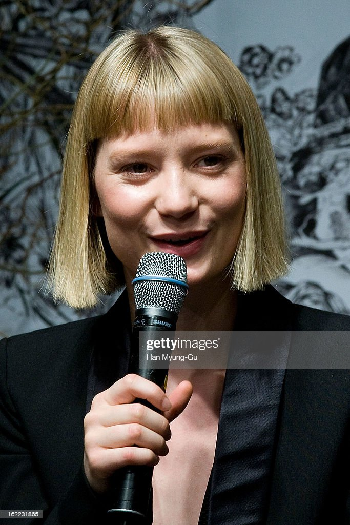 Actress Mia Wasikowska speaks during the 'Stoker' press conference at Grand Hyatt hotel on February 21, 2013 in Seoul, South Korea. The film will open on February 28 in South Korea.
