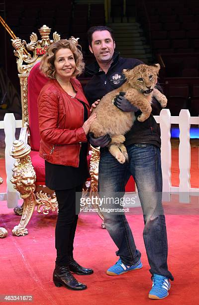 Actress Michaela May and Martin Lacey jr attend the Michaela May christens baby lion to the name Angelina at Circus Krone on February 13 2015 in...