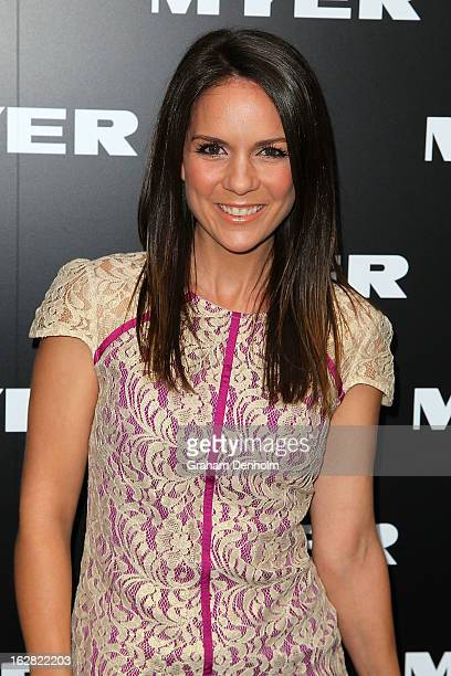 Actress Michala Banas arrives at the Myer Autumn/Winter 2013 collections launch at Mural Hall at Myer on February 28 2013 in Melbourne Australia