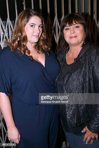 Actress Michele Bernier and her daughter Charlotte Gaccio attend the 'Vivement Dimanche' French TV Show at Pavillon Gabriel on October 13 2015 in...
