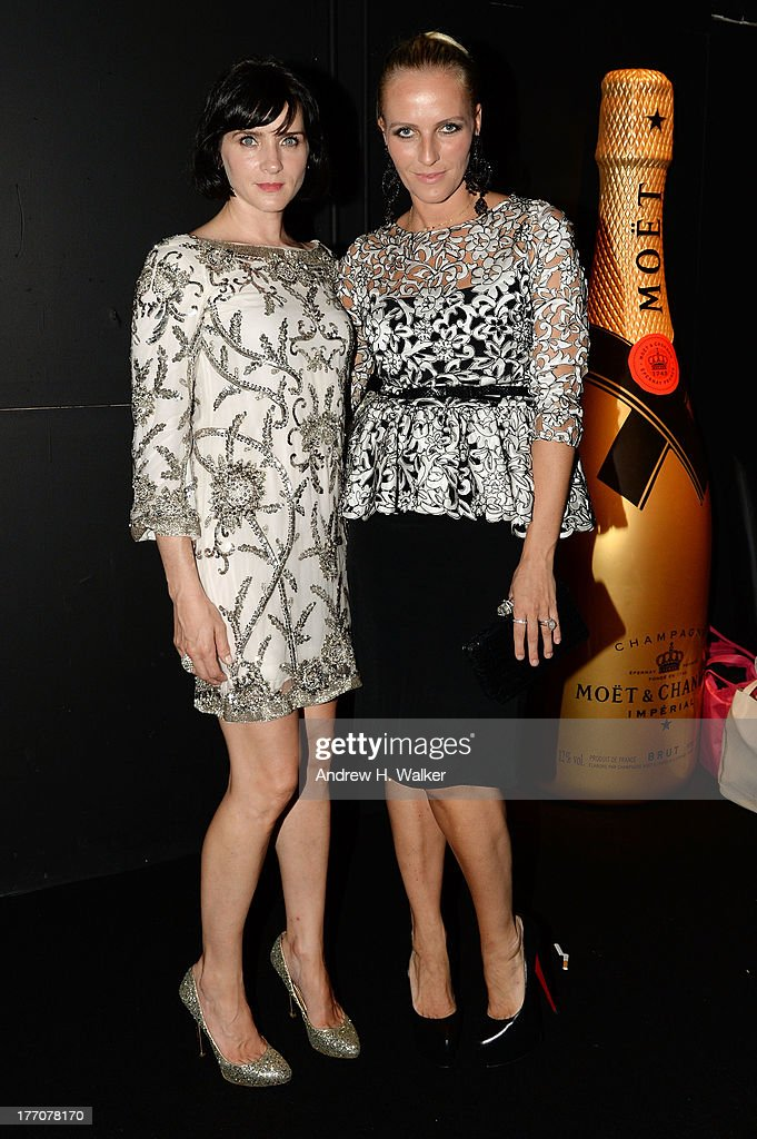 Actress Michele Hicks (L) and designer Keren Craig attend Moet & Chandon Celebrates Its 270th Anniversary With New Global Brand Ambassador, International Tennis Champion, Roger Federer at Chelsea Piers Sports Center on August 20, 2013 in New York City.