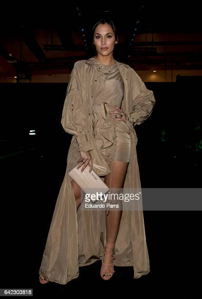 Actress Michelle Calvo attends the front row of Juan Vidal show during Mercedes Benz Fashion Week Madrid Autumn / Winter 2017 at Ifema on February 17...