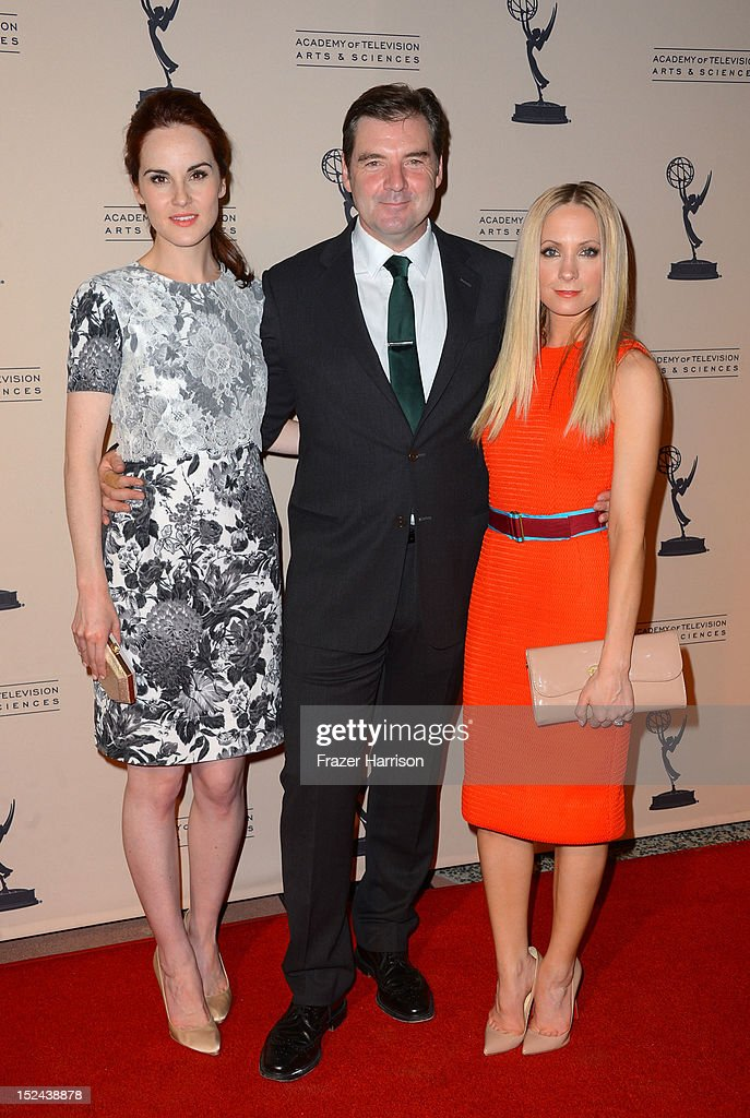 Actress <a gi-track='captionPersonalityLinkClicked' href=/galleries/search?phrase=Michelle+Dockery&family=editorial&specificpeople=4047702 ng-click='$event.stopPropagation()'>Michelle Dockery</a>, actor Brendan Coyle actress <a gi-track='captionPersonalityLinkClicked' href=/galleries/search?phrase=Joanne+Froggatt&family=editorial&specificpeople=2364245 ng-click='$event.stopPropagation()'>Joanne Froggatt</a> arrive at The Academy Of Television Arts & Sciences Writer Nominees' 64th Primetime Emmy Awards Reception at Academy of Television Arts & Sciences on September 20, 2012 in North Hollywood, California.
