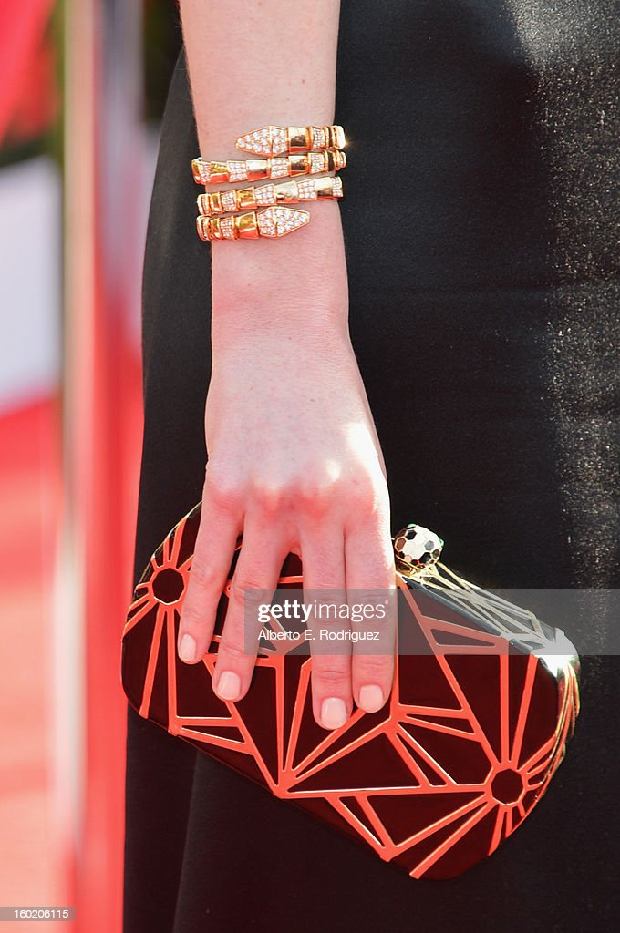 Actress Michelle Dockery (fashion detail) arrives at the 19th Annual Screen Actors Guild Awards held at The Shrine Auditorium on January 27, 2013 in Los Angeles, California.