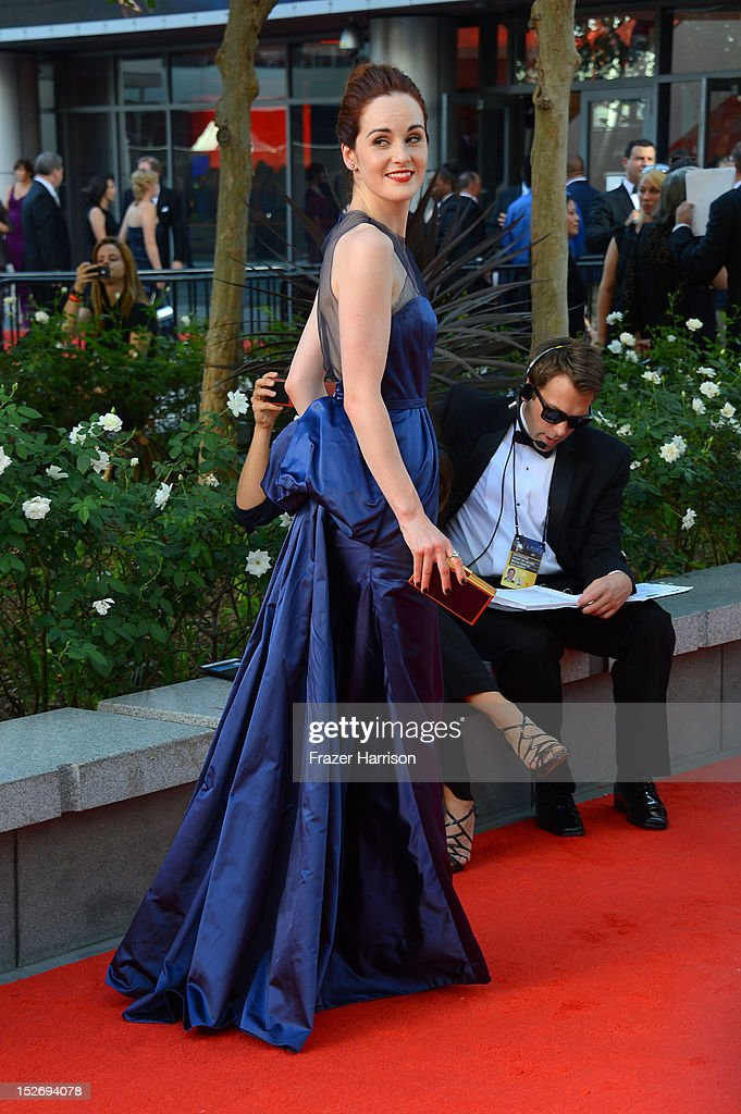 Actress Michelle Dockery arrives at the 64th Annual Primetime Emmy Awards at Nokia Theatre L.A. Live on September 23, 2012 in Los Angeles, California.