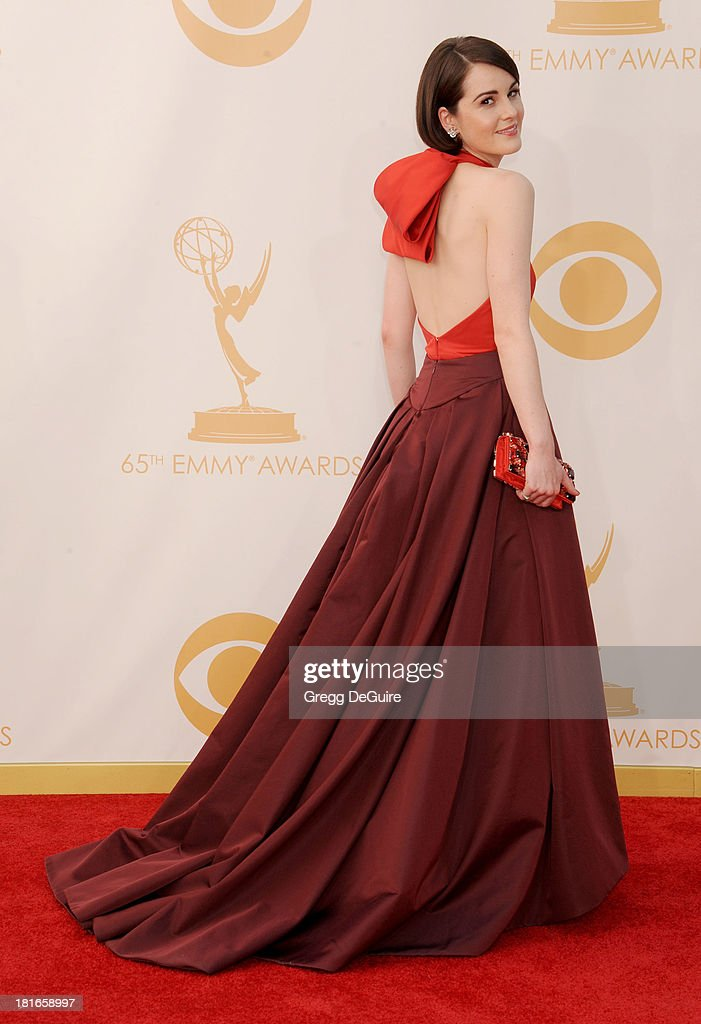 Actress Michelle Dockery arrives at the 65th Annual Primetime Emmy Awards at Nokia Theatre LA Live on September 22 2013 in Los Angeles California