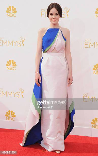Actress Michelle Dockery arrives at the 66th Annual Primetime Emmy Awards at Nokia Theatre LA Live on August 25 2014 in Los Angeles California