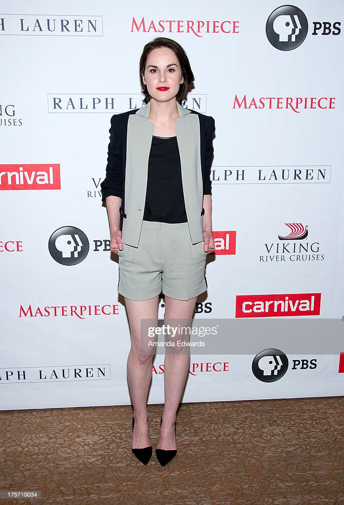Actress <a gi-track='captionPersonalityLinkClicked' href=/galleries/search?phrase=Michelle+Dockery&family=editorial&specificpeople=4047702 ng-click='$event.stopPropagation()'>Michelle Dockery</a> arrives at the 'Downton Abbey' photo call at The Beverly Hilton Hotel on August 6, 2013 in Beverly Hills, California.