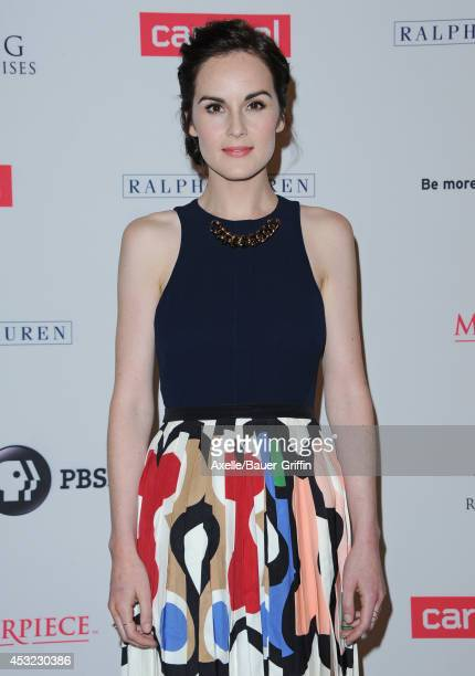 Actress Michelle Dockery arrives at the Los Angeles photo call of 'Downton Abbey' held at The Beverly Hilton Hotel on July 22 2014 in Beverly Hills...