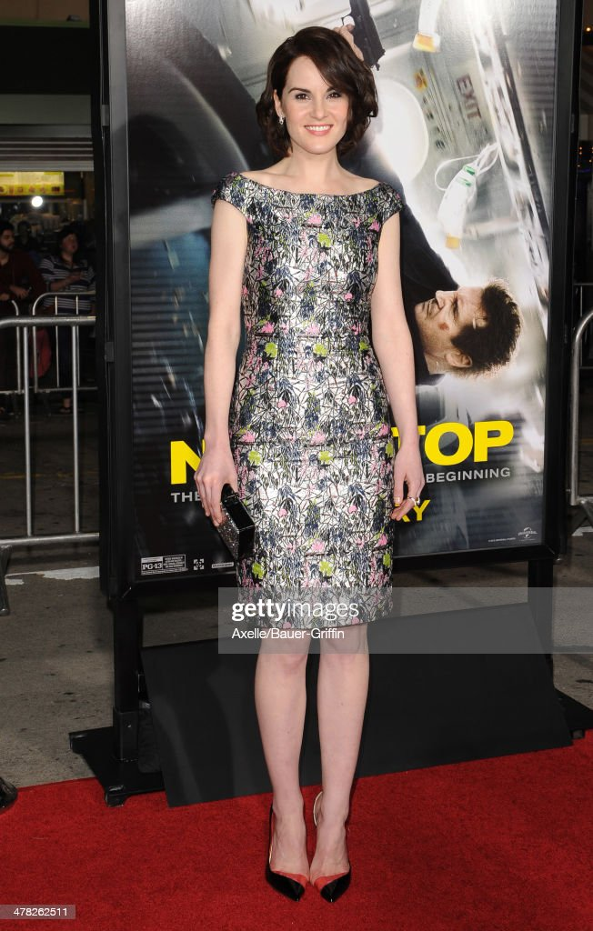 Actress <a gi-track='captionPersonalityLinkClicked' href=/galleries/search?phrase=Michelle+Dockery&family=editorial&specificpeople=4047702 ng-click='$event.stopPropagation()'>Michelle Dockery</a> arrives at the Los Angeles premiere of 'Non-Stop' at Regency Village Theatre on February 24, 2014 in Westwood, California.