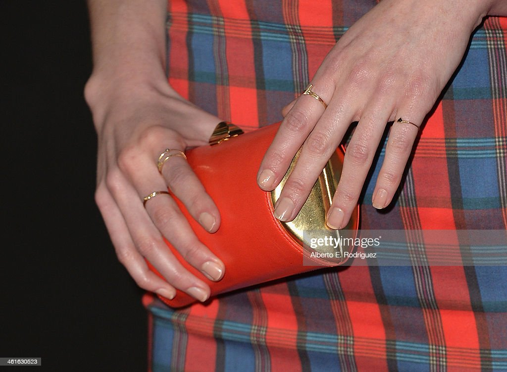Actress Michelle Dockery (purse detail) arrives to Audi Celebrates Golden Globes Weekend at Cecconi's Restaurant on January 9, 2014 in Los Angeles, California.
