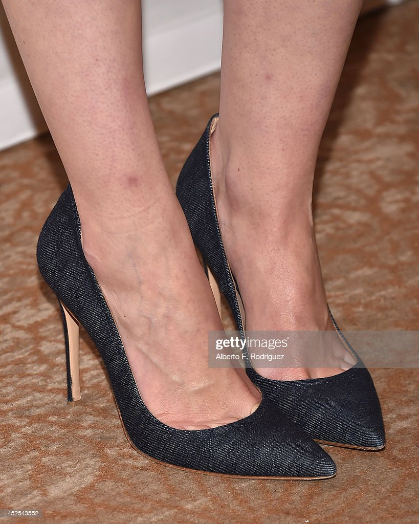 Actress Michelle Dockery (shoe detail) attends the 2014 Summer TCA Tour 'Downton Abbey' Season 5 photocall at The Beverly Hilton Hotel on July 22, 2014 in Beverly Hills, California.