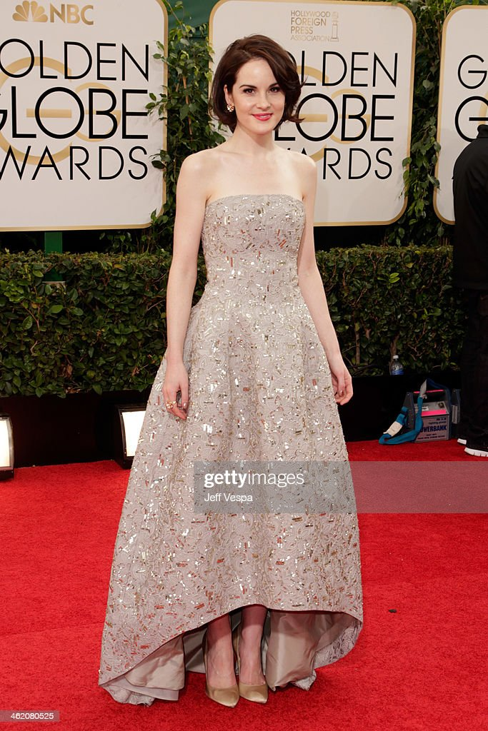 Actress Michelle Dockery attends the 71st Annual Golden Globe Awards held at The Beverly Hilton Hotel on January 12 2014 in Beverly Hills California