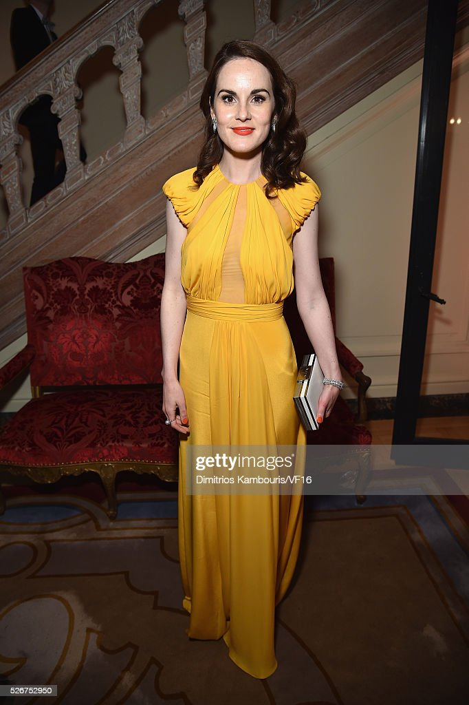 Actress Michelle Dockery attends the Bloomberg & Vanity Fair cocktail reception following the 2015 WHCA Dinner at the residence of the French Ambassador on April 30, 2016 in Washington, DC.