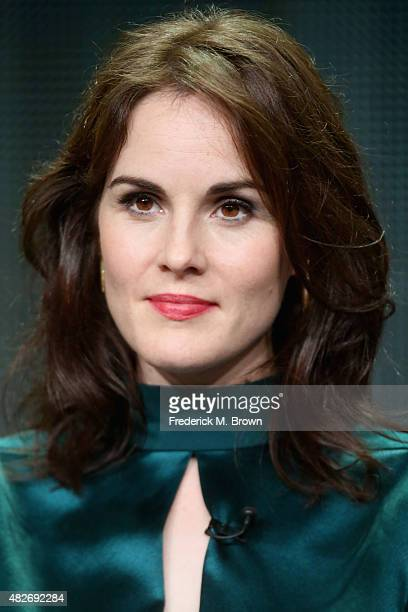 Actress Michelle Dockery speaks onstage during the 'Downton Abbey' panel discussion at the PBS portion of the 2015 Summer TCA Tour at The Beverly...