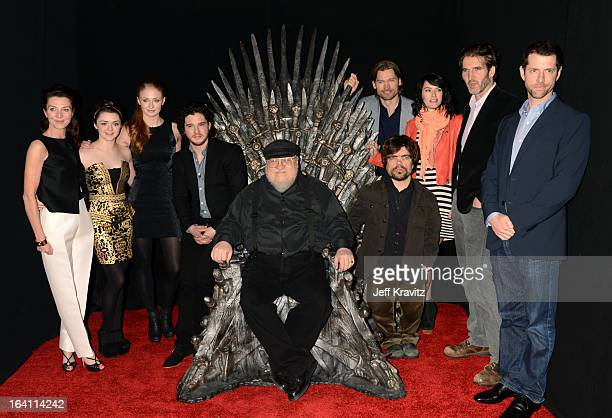 Actress Michelle Fairley actress Maisie Williams actress Sophie Turner actor Kit Harrington writer George RR Martin actor Peter Dinklage actor...