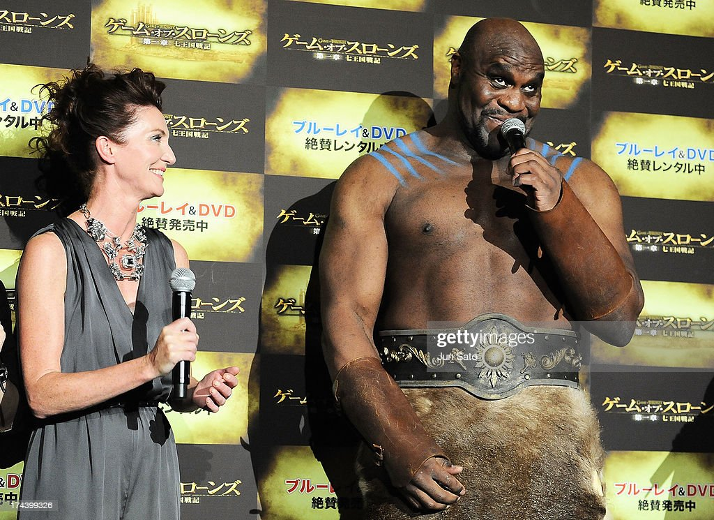 Actress Michelle Fairley and Kickboxer and actor Bob Sapp attend the 'Game of Thrones' stage greeting at Toho Cinemas Roppongi Hills on July 25, 2013 in Tokyo, Japan.