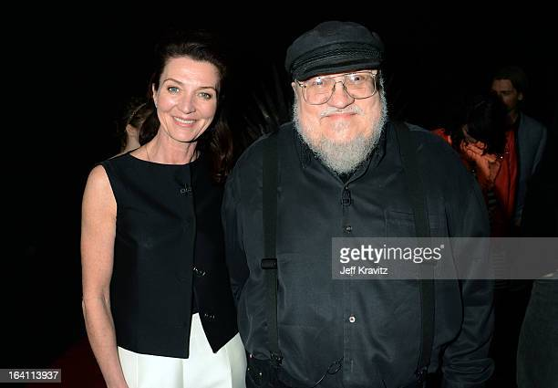 Actress Michelle Fairley and writer george RR Martin attend the Academy of Television Arts Sciences an evening with HBO's 'Game Of Thrones' at TCL...