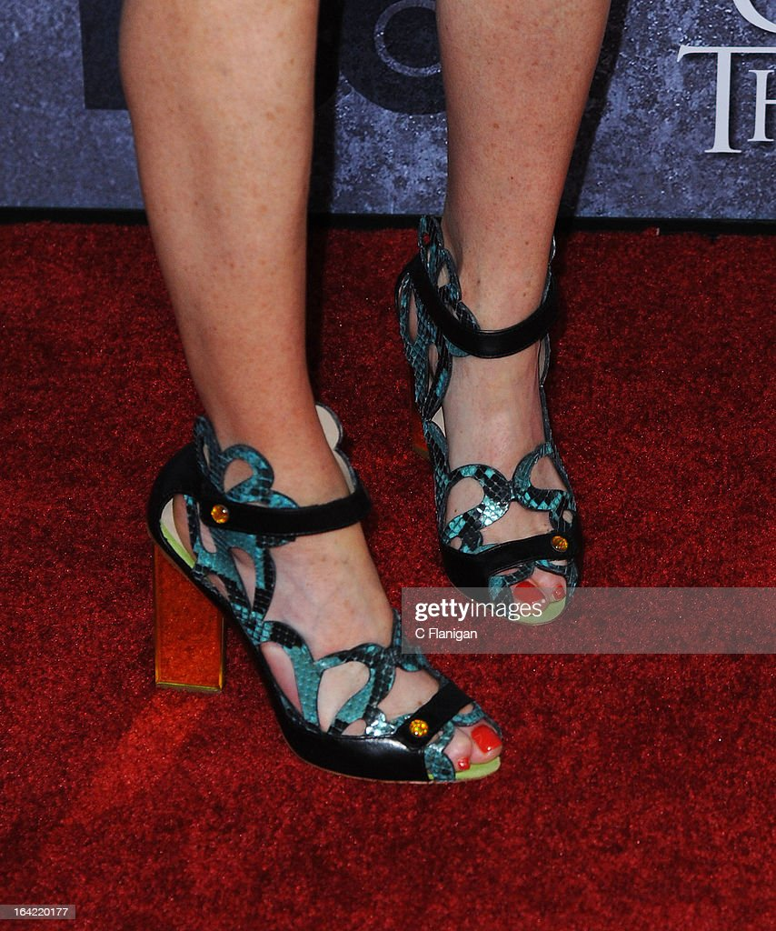 Actress Michelle Fairley (shoe detail) arrives at the San Francisco Premiere For HBO's 'Game Of Thrones' Season 3 at Palace Of Fine Arts Theater on March 20, 2013 in San Francisco, California.