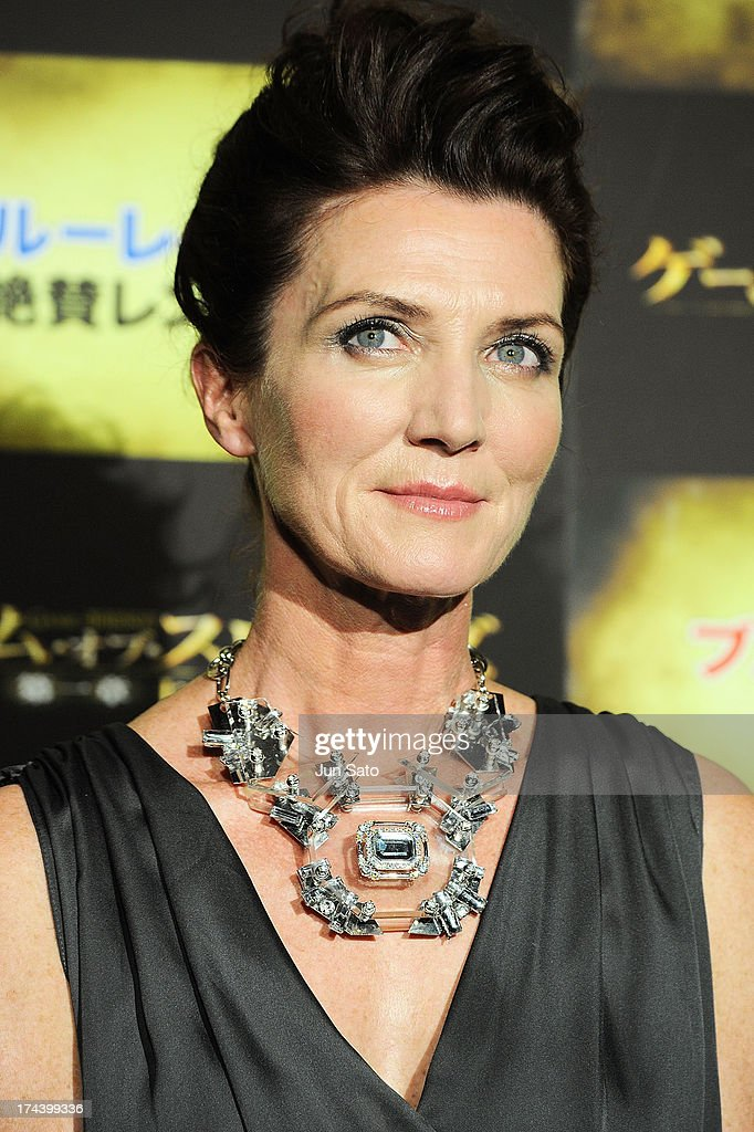 Actress <a gi-track='captionPersonalityLinkClicked' href=/galleries/search?phrase=Michelle+Fairley&family=editorial&specificpeople=5745645 ng-click='$event.stopPropagation()'>Michelle Fairley</a> attends the 'Game of Thrones' stage greeting at Toho Cinemas Roppongi Hills on July 25, 2013 in Tokyo, Japan.