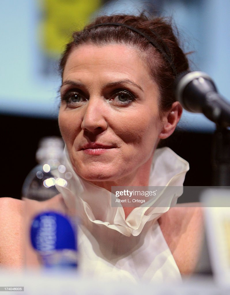 Actress <a gi-track='captionPersonalityLinkClicked' href=/galleries/search?phrase=Michelle+Fairley&family=editorial&specificpeople=5745645 ng-click='$event.stopPropagation()'>Michelle Fairley</a> speaks onstage during the 'Game Of Thrones' panel during Comic-Con International 2013 at San Diego Convention Center on July 19, 2013 in San Diego, California.