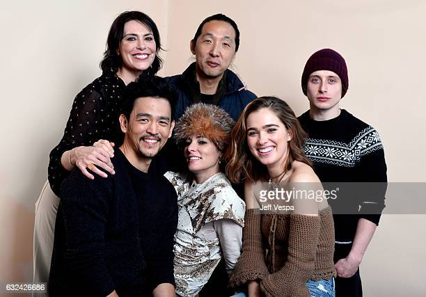 Actress Michelle Forbes filmmaker Kogonada actor Rory Culkin actors John Cho Parker Posey and Haley Lu Richardson from the film 'Columbus' pose for a...