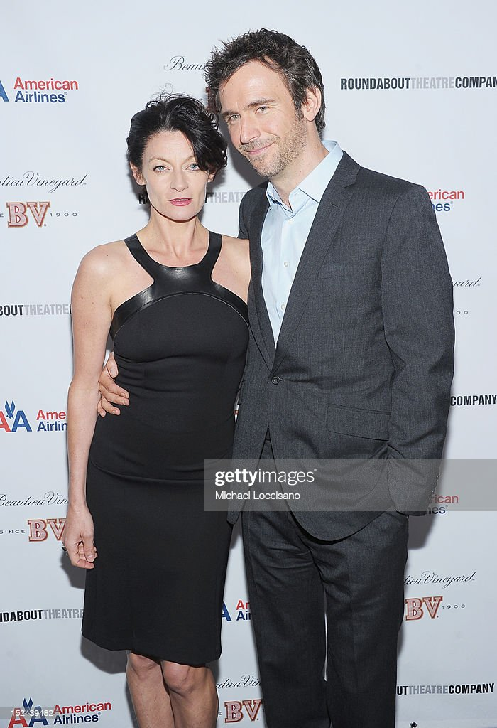 Actress Michelle Gomez and husband, actor Jack Davenport pose following Gomez's performance in the 'If There Is I Haven't Found It' Broadway opening night at Laura Pels Theatre on September 20, 2012 in New York City.