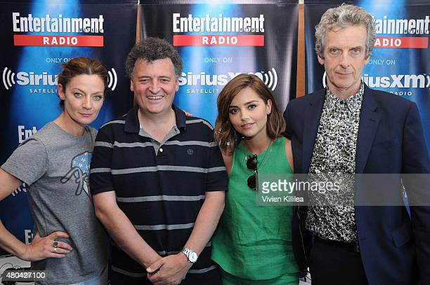 Actress Michelle Gomez executive producer Steven Moffat and actors Jenna Coleman and Peter Capaldi attend SiriusXM's Entertainment Weekly Radio...