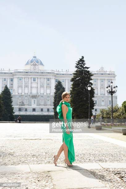 Actress Michelle Jenner is photographed for Conde Nast Traveler Spain on March 2 2013 infront of Palacio Real in Madrid Spain PUBLISHED IMAGE