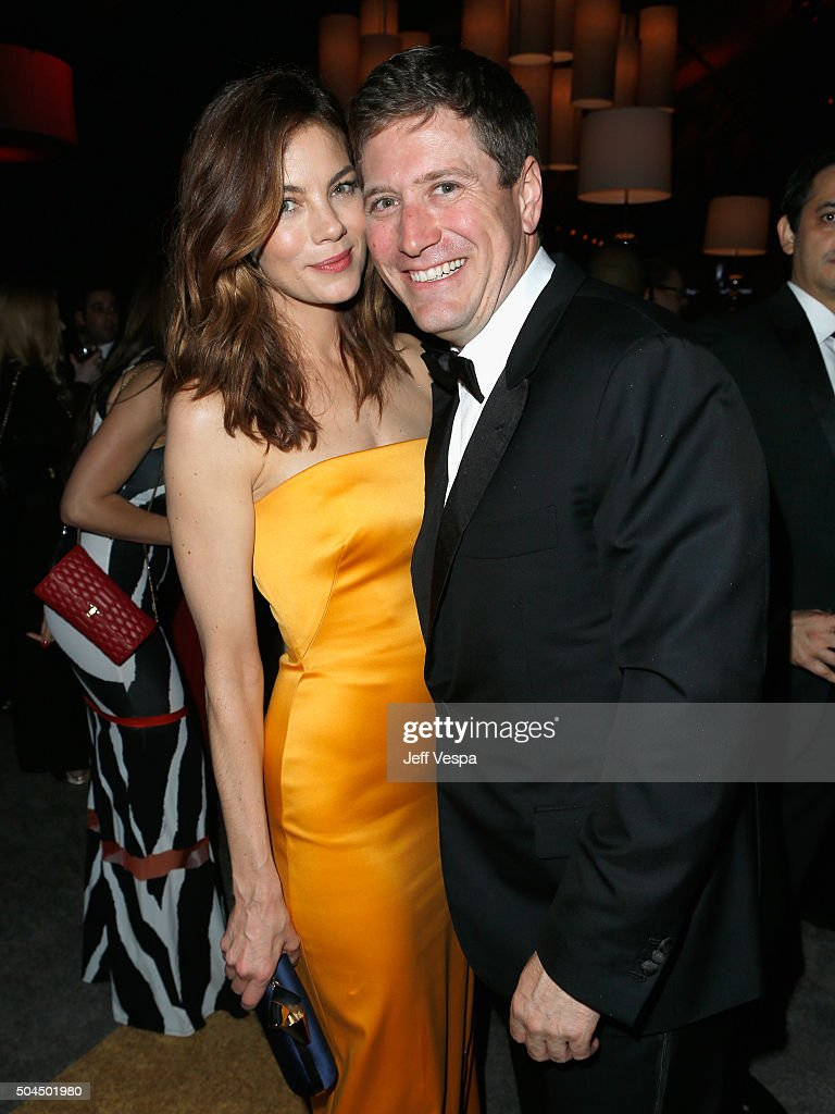 Actress Michelle Monaghan (L) and Peter White attend The Weinstein Company and Netflix Golden Globe Party, presented with DeLeon Tequila, Laura Mercier, Lindt Chocolate, Marie Claire and Hearts On Fire at The Beverly Hilton Hotel on January 10, 2016 in Beverly Hills, California.