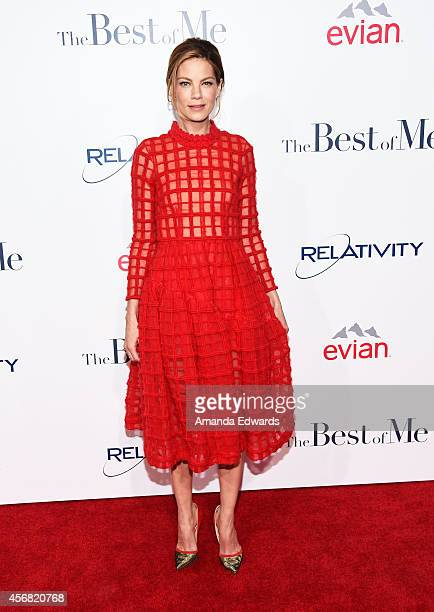 Actress Michelle Monaghan arrives at the Los Angeles premiere of 'The Best Of Me' at the Regal Cinemas LA Live on October 7 2014 in Los Angeles...