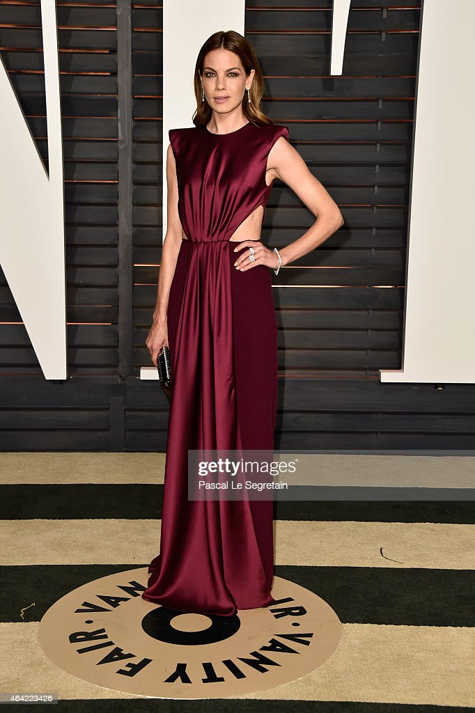 Actress Michelle Monaghan attends the 2015 Vanity Fair Oscar Party hosted by Graydon Carter at Wallis Annenberg Center for the Performing Arts on...