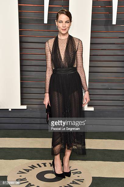 Actress Michelle Monaghan attends the 2016 Vanity Fair Oscar Party Hosted By Graydon Carter at the Wallis Annenberg Center for the Performing Arts on...