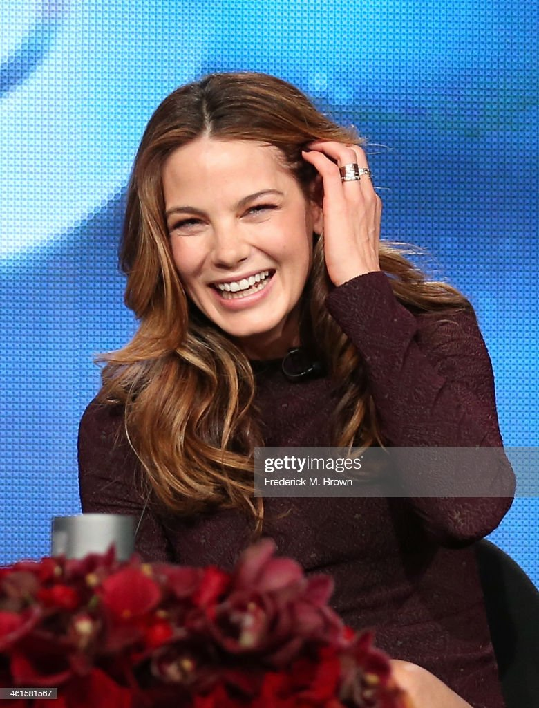 Actress Michelle Monaghan speaks onstage during the 'True Detective' panel discussion at the HBO portion of the 2014 Winter Television Critics Association tour at the Langham Hotel on January 9, 2014 in Pasadena, California.