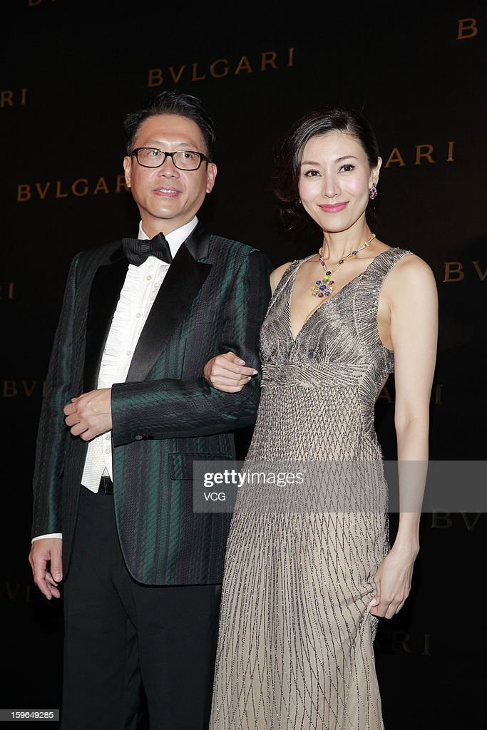 Actress Michelle Monique Reis (R) and her husband Julian Hsu attend Bulgari store opening reception on January 17, 2013 in Hong Kong, Hong Kong.