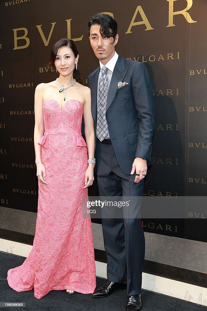 Actress Michelle Monique Reis and South Korean actor Cha Seung-won attend Bulgari store opening ceremony on January 17, 2013 in Hong Kong, Hong Kong.