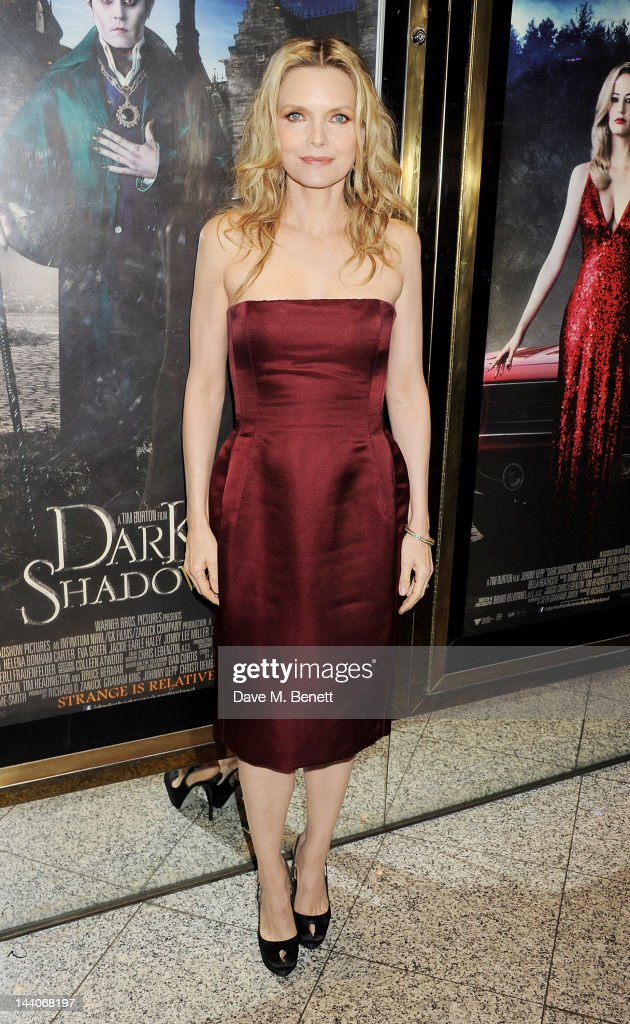 Actress <a gi-track='captionPersonalityLinkClicked' href=/galleries/search?phrase=Michelle+Pfeiffer&family=editorial&specificpeople=212951 ng-click='$event.stopPropagation()'>Michelle Pfeiffer</a> attends the European Premiere of 'Dark Shadows' at Empire Leicester Square on May 9, 2012 in London, England.