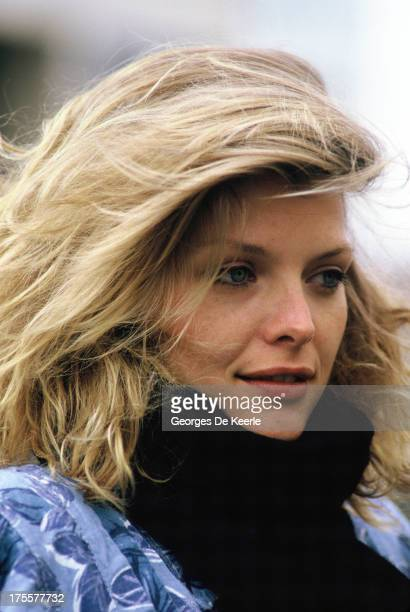 Actress Michelle Pfeiffer poses on set during filming of 'Into The Night' directed by John Landis on April 1985 in London England
