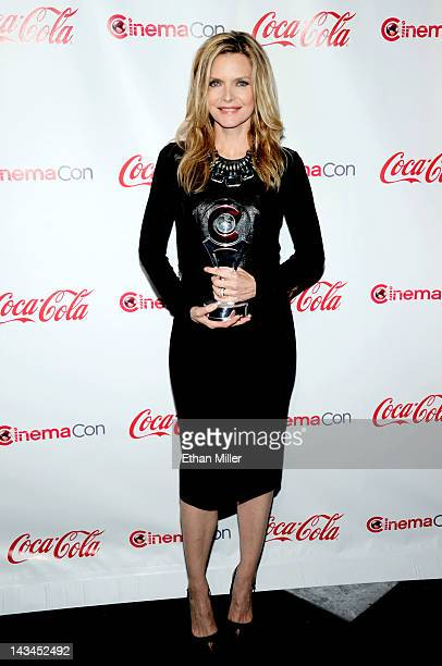 Actress Michelle Pfeiffer recipient of the Cinema Icon Award arrives at the CinemaCon awards ceremony at Pure Nightclub at Caesars Palace on April 26...