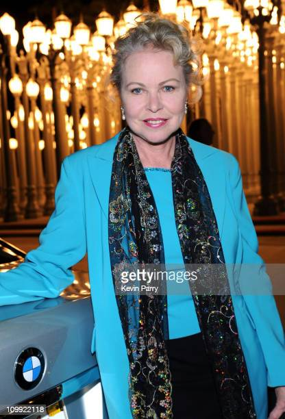Actress Michelle Phillips arrives in the allnew BMW 7 Series to celebrate the BMW Art Car US Tour at LACMA on February 18 2009 in Los Angeles...