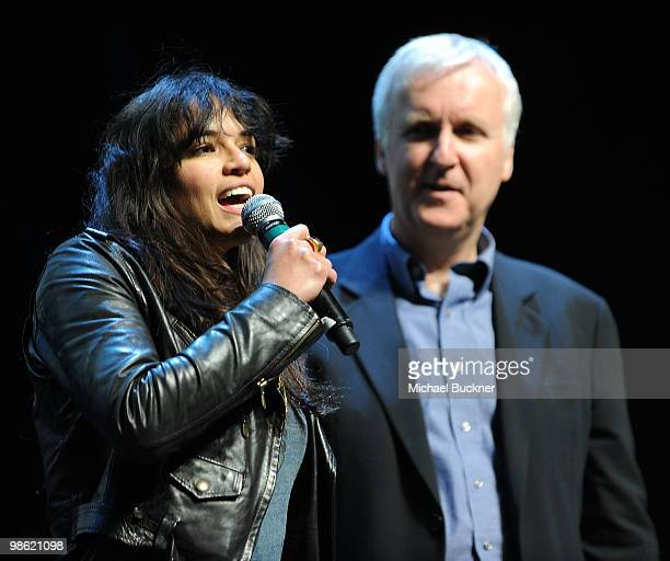 Actress Michelle Rodriguez and director James Cameron speak at the Earth Day celebration and screening of Avatar benefitting the Partnership for Los...