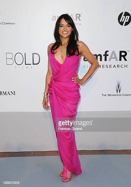 Actress Michelle Rodriguez arrives at amfAR's Cinema Against AIDS 2010 benefit gala at the Hotel du Cap on May 20 2010 in Antibes France