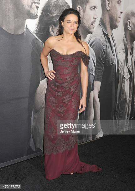 Actress Michelle Rodriguez arrives at the 'Furious 7' Los Angeles Premiere at TCL Chinese Theatre IMAX on April 1 2015 in Hollywood California