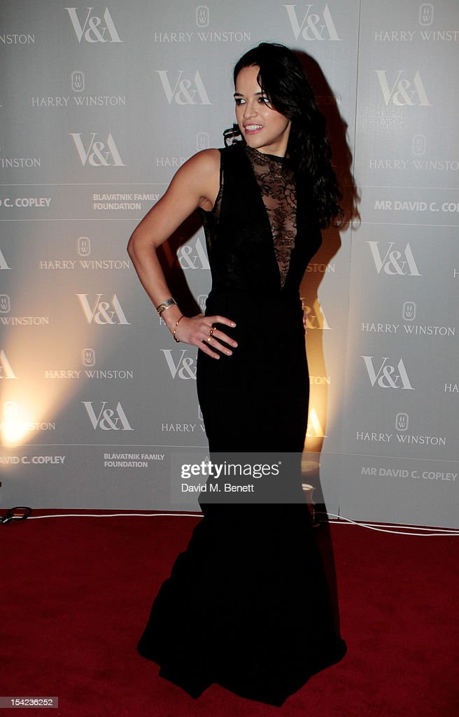 Actress Michelle Rodriguez arrives at the launch dinner for the new Hollywood Costume exhibition at the V&A Museum on October 16, 2012 in London, England. The exhibition will open from October 20th at The V&A.