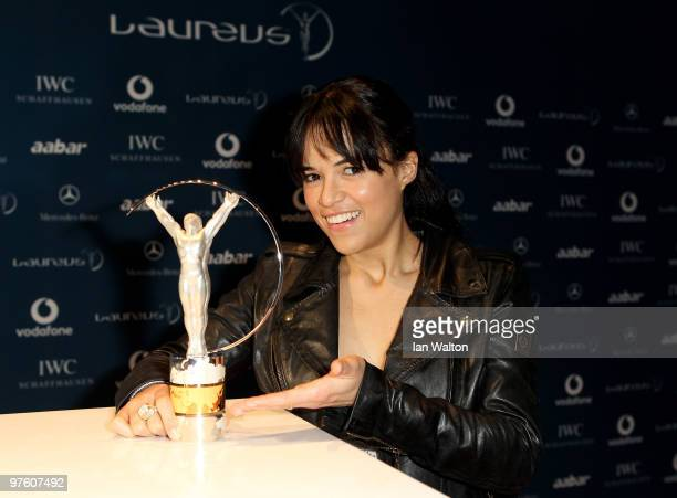 Actress Michelle Rodriguez arrives at the Laureus World Sports Awards 2010 at Emirates Palace Hotel on March 10 2010 in Abu Dhabi United Arab Emirates
