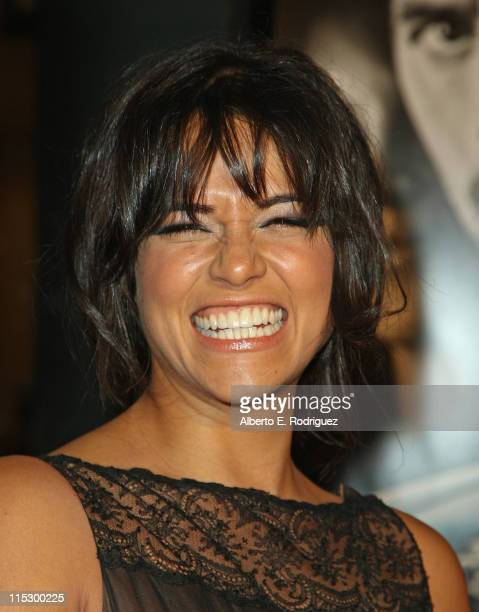 Actress Michelle Rodriguez arrives at the Los Angeles premiere of Universal Studios' 'Fast Furious' at the Gibson Amphitheatre on March 12 2009 in...