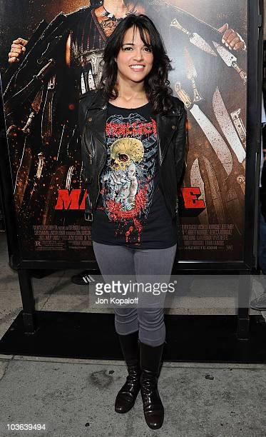 Actress Michelle Rodriguez arrives at the Los Angeles Screening of 'Machete' on August 25 2010 in Los Angeles California